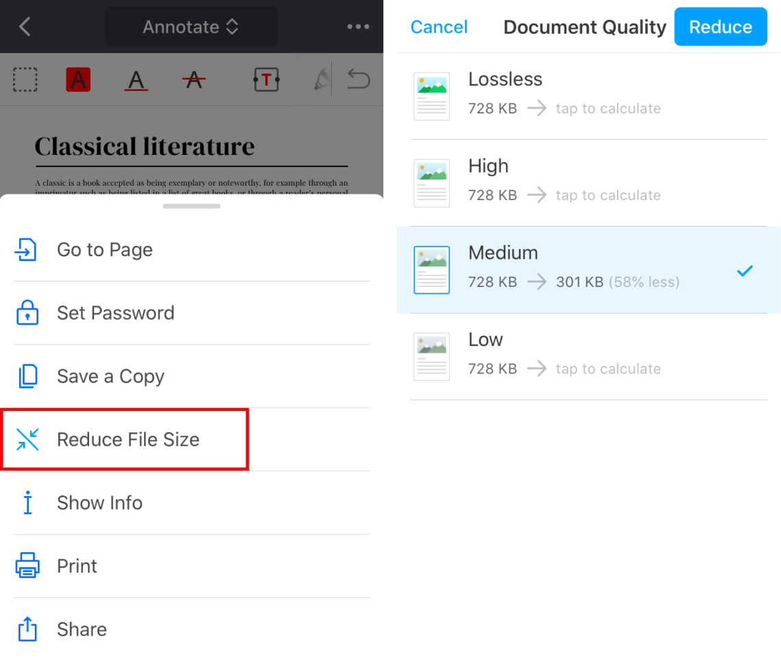 Reduce PDF Size On IPhone And IPad