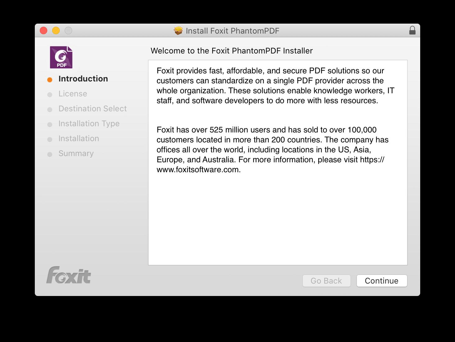 Foxit PDF editor installation