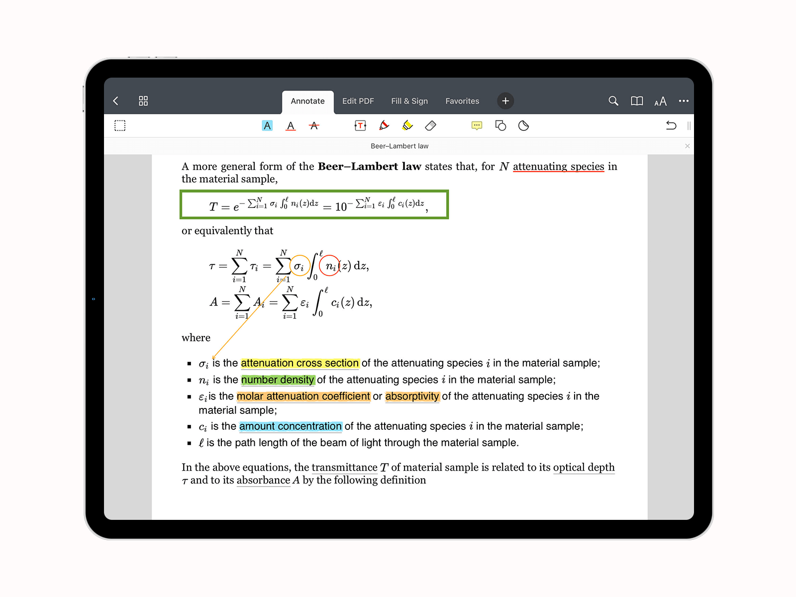 Annotate slides in PDF Expert screenshot