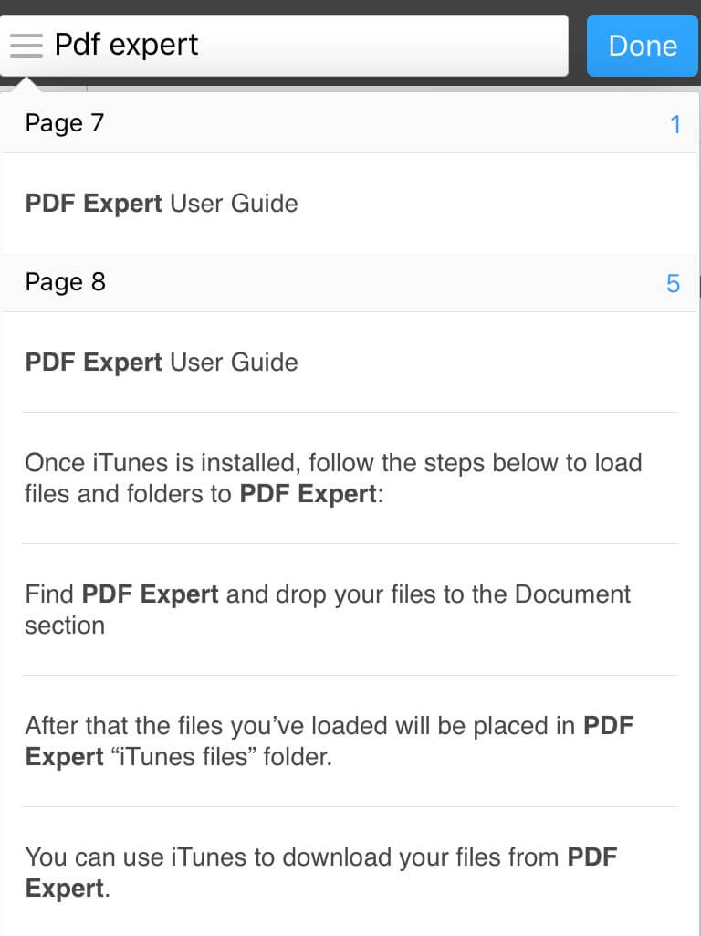 The List Of Results Is Presented From The Current Page Tap On Any Item In  The List To Navigate To The Appropriate Place On The Pdf