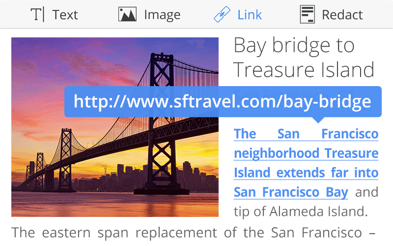 Add hyperlink to PDF