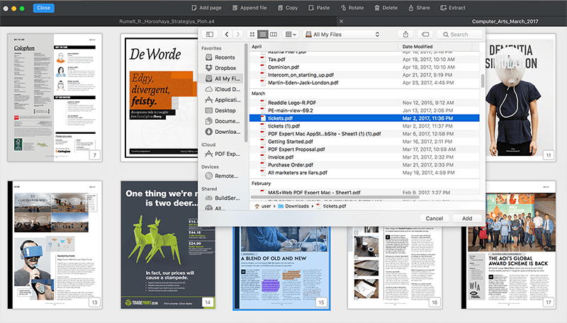 Append PDFs in thumbnail mode