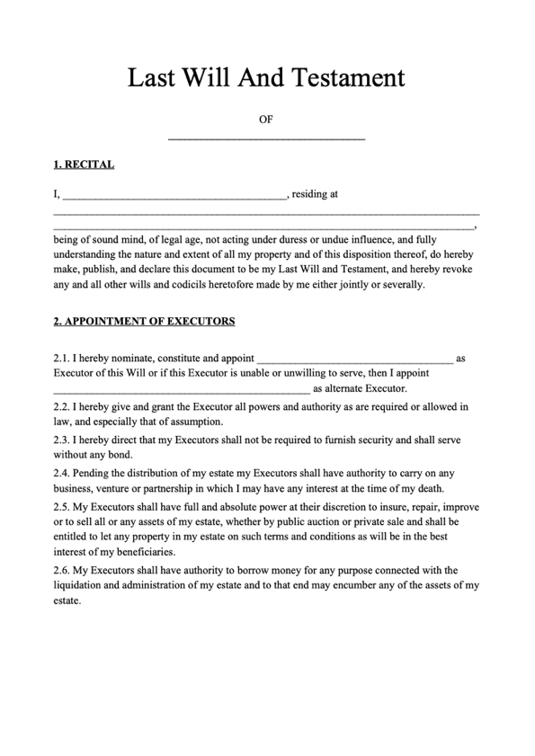Last Will And Testament Form Free Last Will Template
