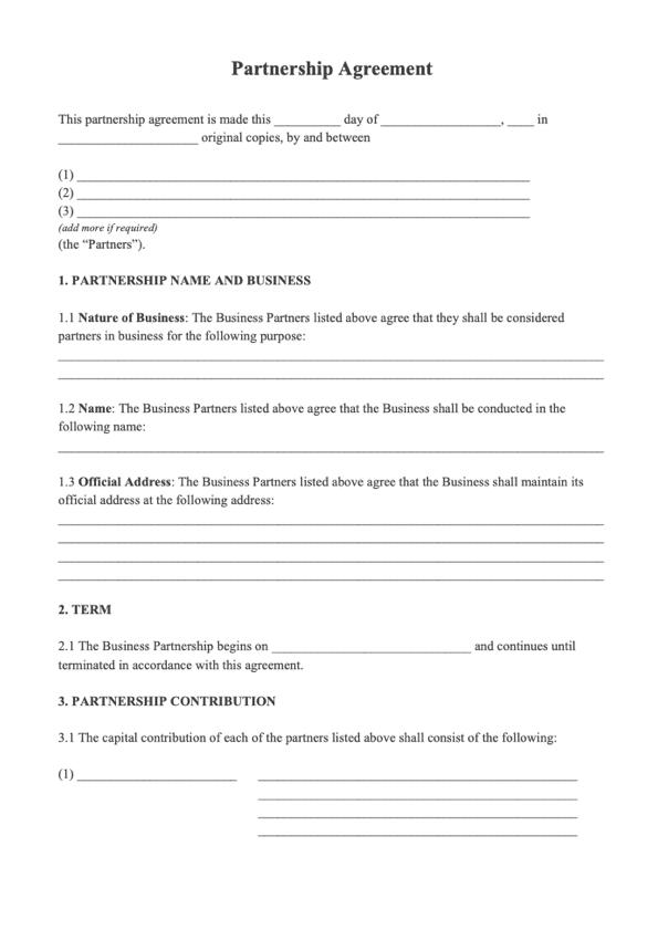 Partnership Agreement Sample Free Business Partnership