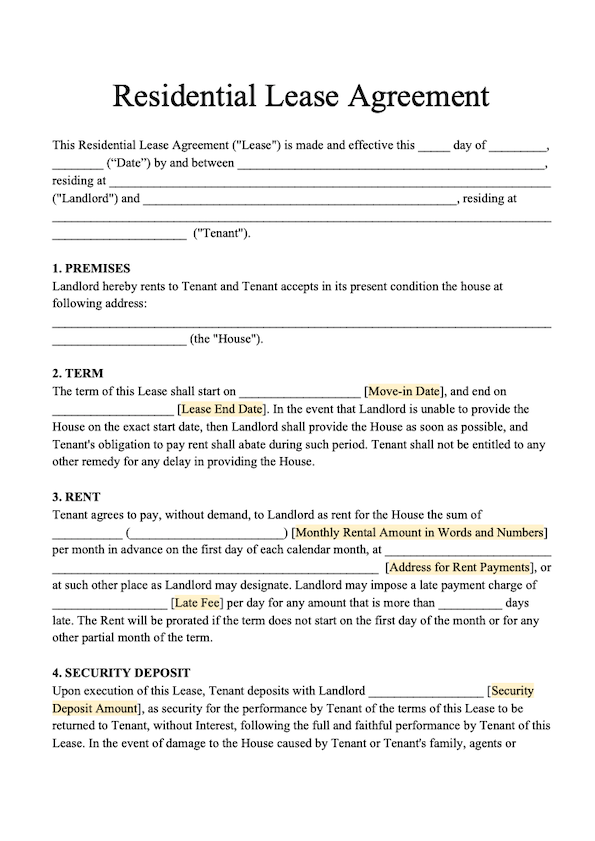 Free Residential Lease Template Download Rental Agreement
