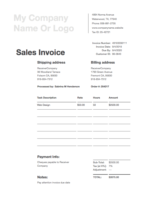 Free Invoice Templates Download Invoice Templates In Pdf