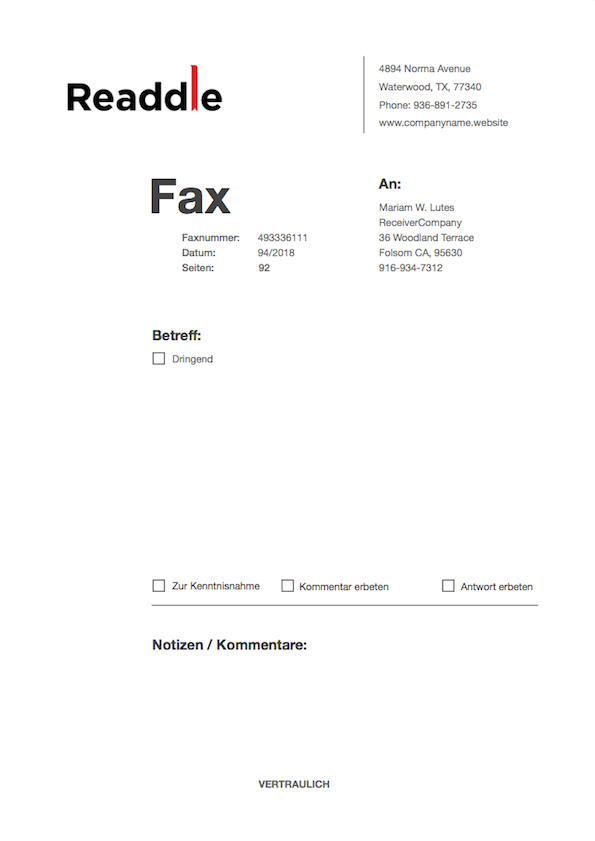 Kostenlose Fax Deckblatt Vorlage Fax Deckblatt Vorlage Herunterladen
