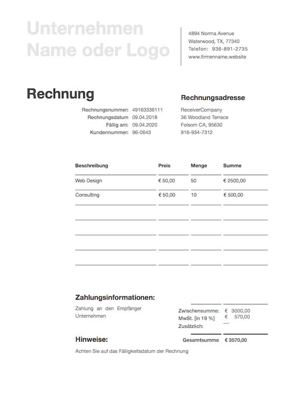 kostenlose rechnung vorlage rechnung vorlage als pdf. Black Bedroom Furniture Sets. Home Design Ideas