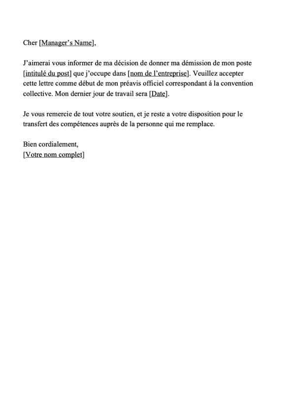 lettre lettre de d u00e9mission  u2014 motivrh