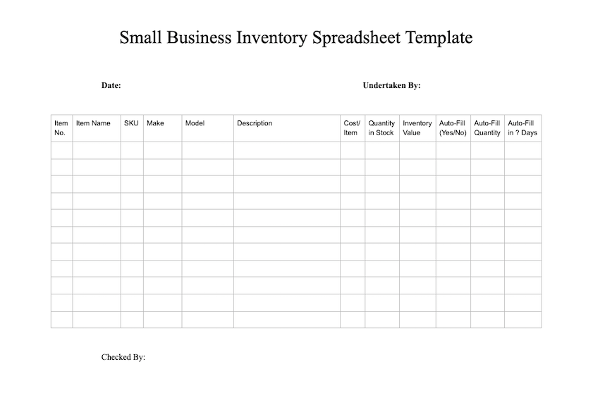Free Inventory Template Download Sample Inventory Checklist