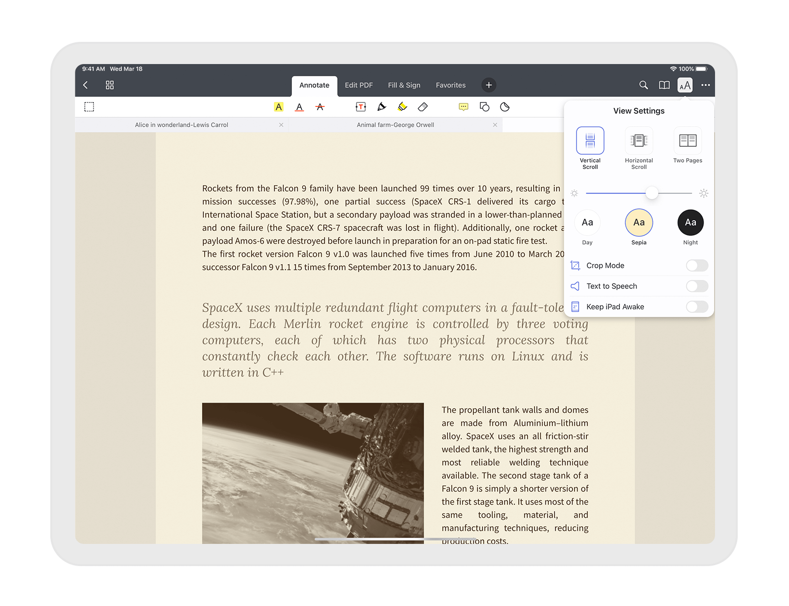 Reading Options in Documents on iPhone and iPad