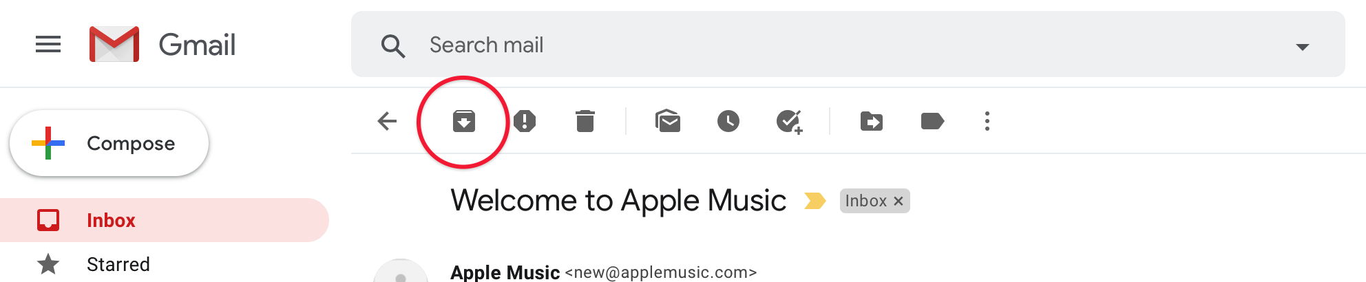 Archive emails in Gmail screenshot