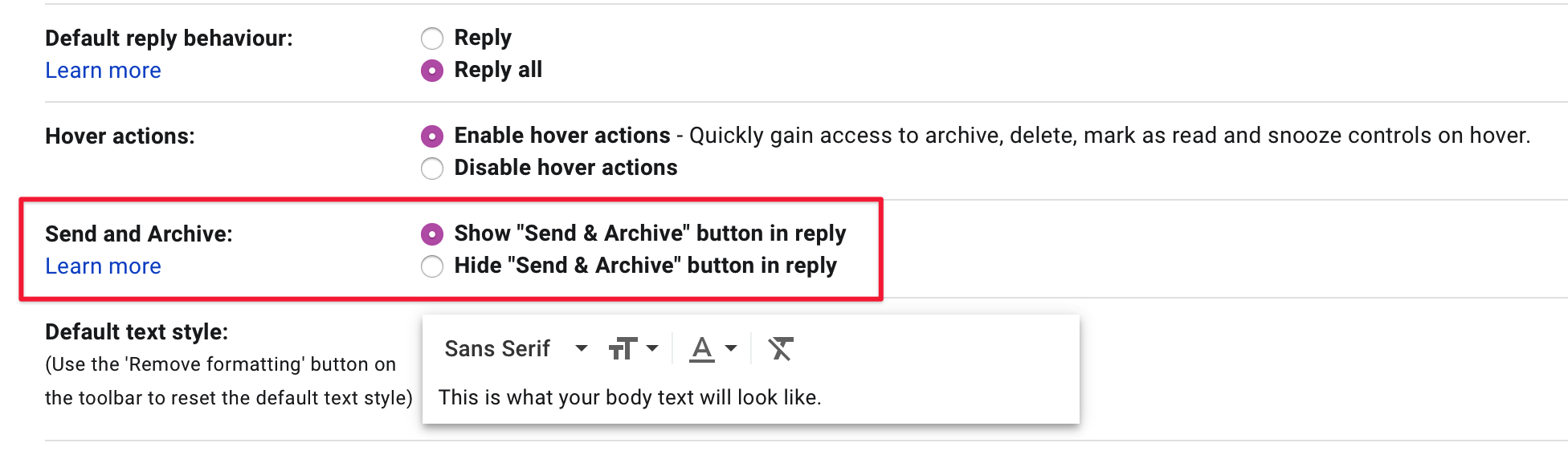 Send & archive in Gmail screenshot