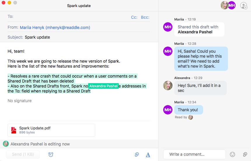 Shared drafts in Spark screenshot