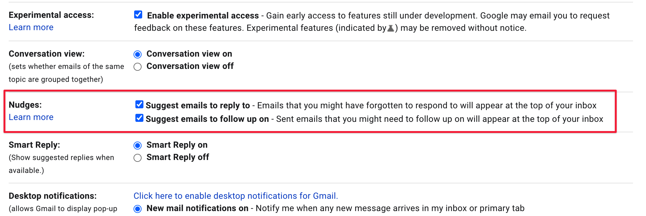 Nudges in Gmail screenshot