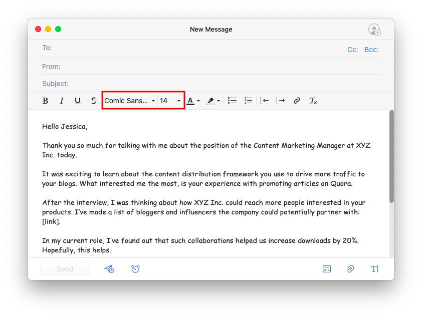 How to change the email font | Spark Help Center